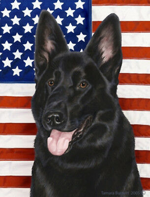 Large Indoor/Outdoor Patriotic II Flag - Black German Shepherd 32091