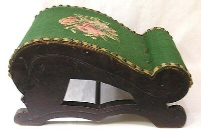 Vintage Sloped Foot Stool Wood w Needlework Flowers Metal Studs 1920s