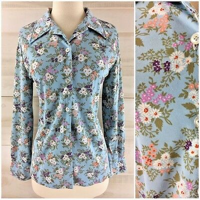 Vintage 70s baby blue floral long sleeve button up shirt top hippie boho L