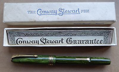 Conway Stewart No. 36 with box, green linear marble design, gold CS 5N nib, for