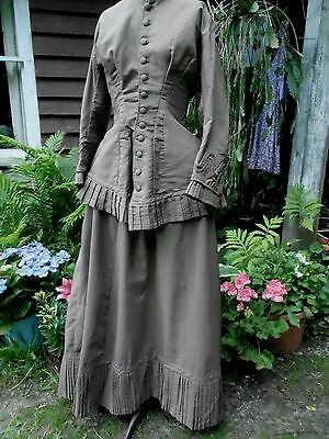 Vintage 1800's 1870's Lovely fine wool Walking Suit  Bodice Skirt 38-30-70