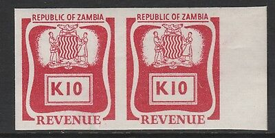 Zambia 4382 - 1968 REVENUE K10 IMPERF PAIR  unmounted mint