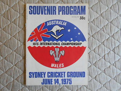 Australia V Wales Rugby League World Cup Match Programme 1975