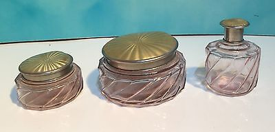 (W15) Set of 3 Vintage Pressed Glass Dressing Table Pots