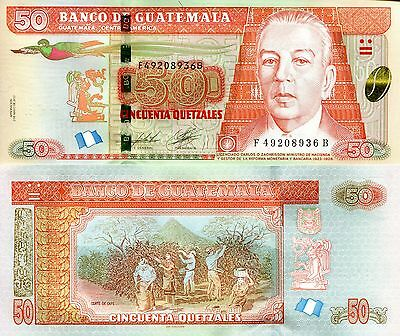GUATEMALA 50 Quetzel Banknote World Paper Money UNC Currency Pick pNEW 2014 Bird