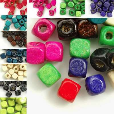30g(150pcs approx) Loose Wooden Spacer Wood Beads Findings Cube 6x6mm WBSET05