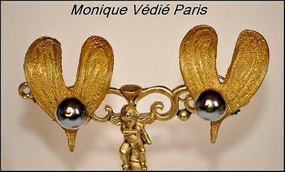 Vintage Monique Vedie Talosel Resin Mistletoe Earrings -Line Vautrin Student