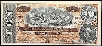 1864 Confederate States of America $10 Reproduction Note - Free Combined S/H