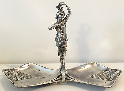 WMF, very rare large tray dish Art Nouveau, lady with grapes superb, model 128/2