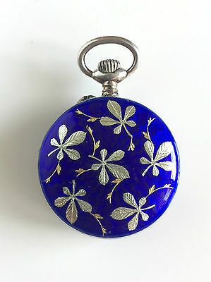 Antique fine pocket watch ladies sterling silver blue enamel, guilloche
