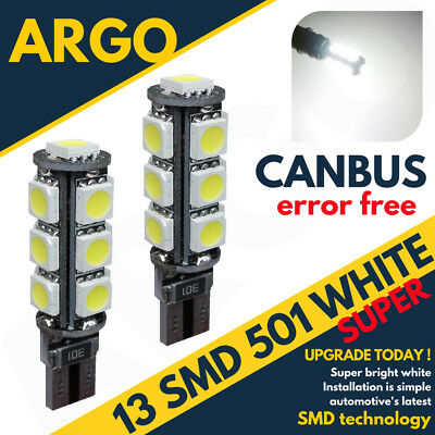 Bmw E46 3 Series 98-05 Bright Canbus Led Side Light 501 W5W 13 Smd White Bulbs