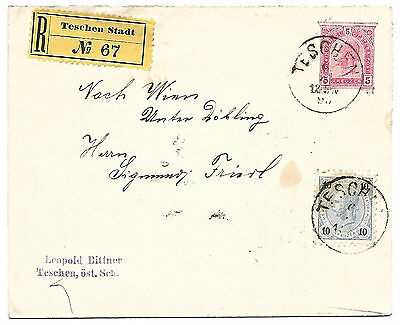 Austria 1895 Teshen registered uprated stationery envelope