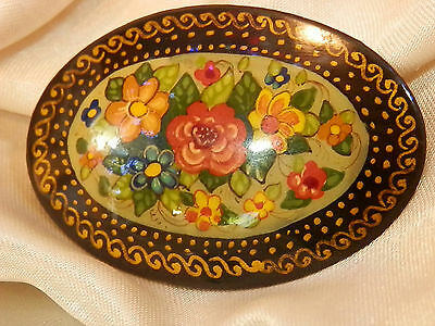 Vintage 1980's OOAK Hand Painted Russian Laquer Signed By Artist Brooch 260my7