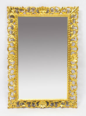 Antique Italian Gilded Hand Carved Florentine Mirror c.1880 -   60 x 40cm