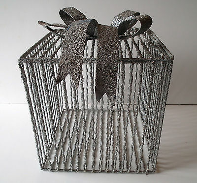 "Wedding Card Holder Cage Silver Glitter 10"" x 10"" Flip Top w Metal Bow"