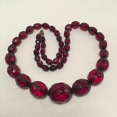 Vintage Art Deco Style Red Cherry Amber Bakelite Faceted Beads Necklace- 22 Inch
