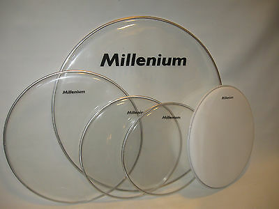 "job lot set of DRUM HEADS / SKINS by Millenium 22"" 16""  13"" 12""clear & 14"" coate"