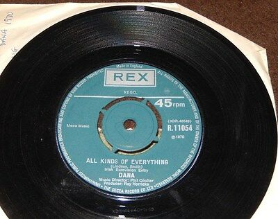 """Dana ~ All Kinds Of Everything 1970 7"""" Single ~ Rex Records"""