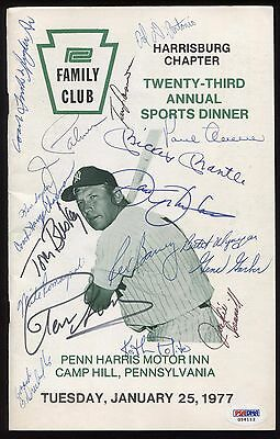 Mickey Mantle Signed Program PSA/DNA New York Yankees 1977 Autographed by 18