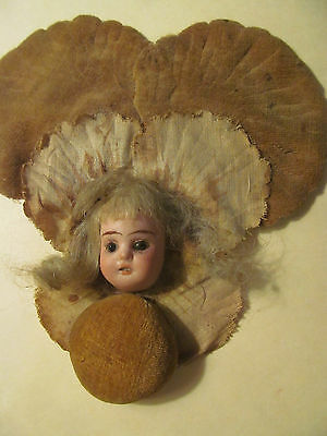 Velvet Flower Girl PIN CUSHION~Antique Bisque Flat Doll Head with Glass Eyes