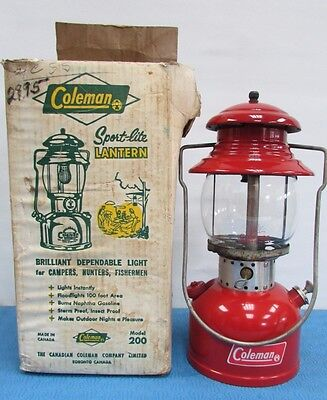 Vtg Amazing Condition Coleman Red Lantern Model 200 T-66 W Box Dated 1966 Superb