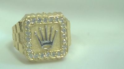 Men's Solid 10k Yellow Gold Crown Ring Band, Size 11
