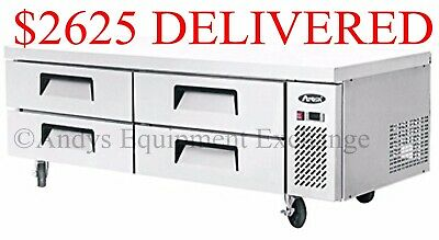 "72 inch 6 foot wide 72"" Chef Base Refrigerated work top table station 4 drawers"