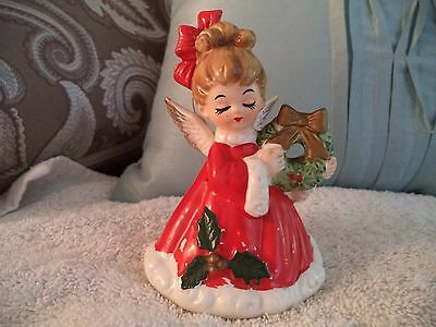 Vintage Christmas Angel Holding Wreath Bell Ornament