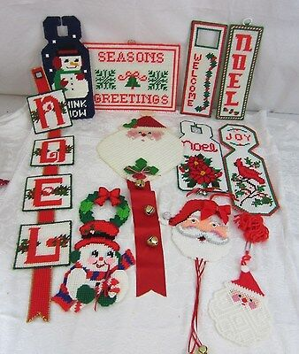 Lot of 11 Needlepoint Christmas Door Knob Wall Hanging Decorations Santa Snowman