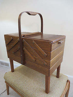 Mid Century Wood Fold Out Sewing Box Basket Vintage Strommen Bruk Hamar Inspired