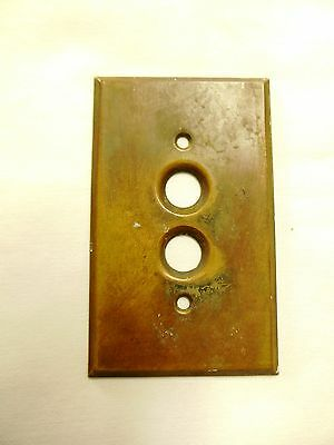 Antique Brass Round 2 Push Buttons Light Cover Plate