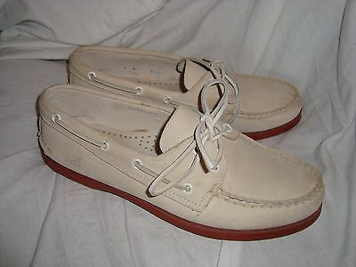 Men's Classic Sperry Top-Sider Off White Leather Boat Deck Loafer Shoe 8M Euc