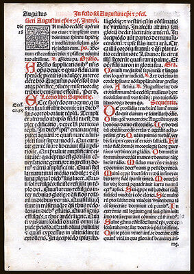 Feast of St Bartholomew Apostle & St Louis French King 1566 Roman  Missal Leaf