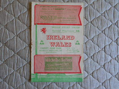 Wales V Ireland Rugby Union Match Programme 1951