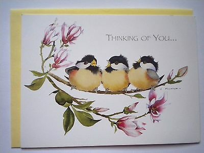 """""""CHICKADEES"""" THINKING OF YOU GREETING CARD & YELLOW ENVELOPE ~ Valerie Pfeiffer"""