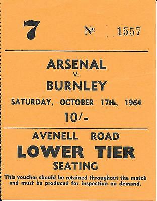 Ticket Arsenal v Burnley 1964/65