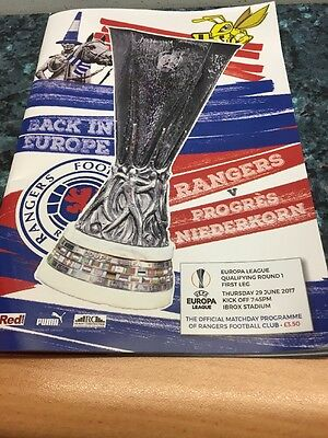 Rangers V Progres Niederkorn  29th June 2017 Europa League Qualifier
