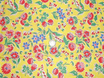 VINTAGE 40's PRETTY  LILY OF THE VALLEY FLORAL   FEED SACK COTTON FABRIC UNUSED