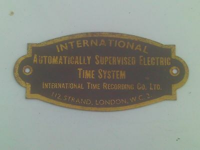 International Time Recording Clocking In Clock Plate.