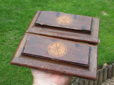2 Antique Vintage Wooden Blotters With Inlay - Desk Top Item Cheap Buy It Now