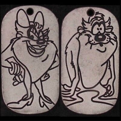 Charm Taz & She Devil Warner Bros Looney Tunes Double Sided Dog Tag Wb 5409