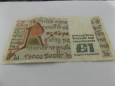 Central Bank Of Ireland £1 Punt Banknote
