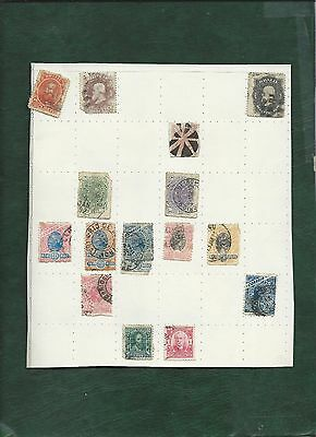 Brazil Brasil 29 old used stamps on album pages inc. imperial and fiscal revenue