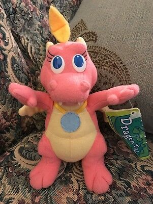 """New Vintage Playskool Dragon Tales Pink Plush Flying Cassie Moving Wings 6"""" #F7"""