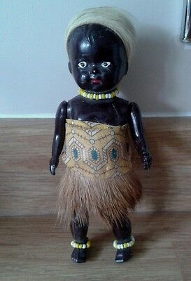 Vintage African Black Doll With Baby In Papoose