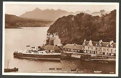 REAL PHOTO POSTCARD CUILLINS PORTREE FERRY ISLE OF SKYE HEBRIDES SCOTLAND c1930