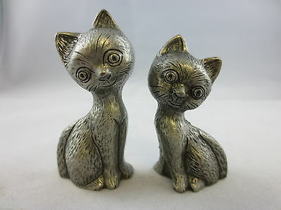 "Pair of Miniature 2 1/4"" High Cute Happy Smiling Cats Solid Pewter Maker Unknown"