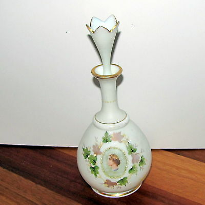 Bristol Milk Satin Glass 1880 Antique Lady Cameo Portrait - Bottle w/ Stopper