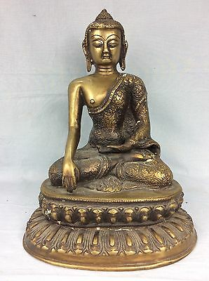 "Antique Bronze Tibetan Buddha, 11"" High Seated On Lotus Throne"