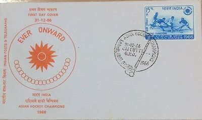 India. 1966 Fdc. Asian Hockey Championships With Special Cancel